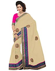 Alethia Beige & Magenta Royal Manipuri Net Traditional Wear Embroidered Sarees With Unstitched Blouse
