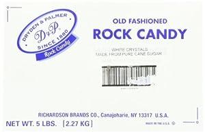 Dryden and Palmer White Sugar Rock Candy, 5-Pound Box