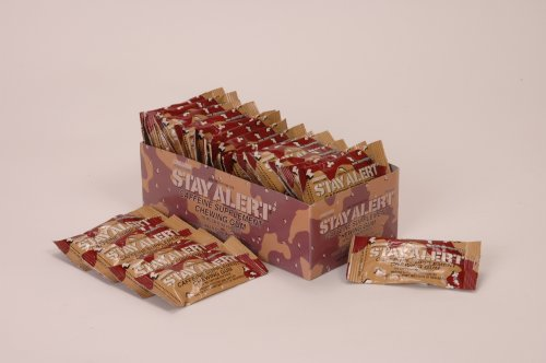 STAY ALERT Military Caffeine Energy Gum - CINNAMON - TRAY (24 packs 5pc) - 100mg Caffeine per piece
