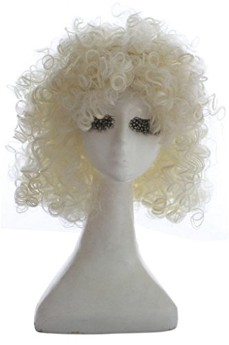 L-email Wig Ladies 30cm Curly Black/White Rock Party Cospaly Costume Fancy Wigs ML202