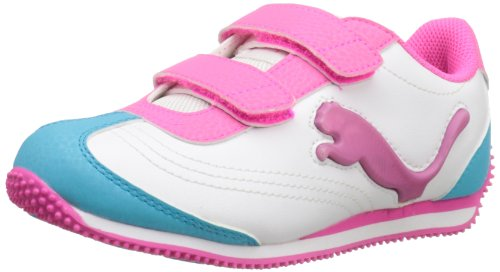 PUMA Speeder Illuminescent V Light-Up Sneaker (Toddler/Little Kid/Big Kid),White/Fluorescent Pink/Blue Atoll,9 M US Toddler