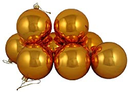 "Club Pack of 16 Shiny Orange Tango Glass Ball Christmas Ornaments 3.25"" (80mm)"