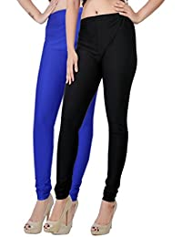 Fashion And Freedom Women's Pack Of 2 Black And Blue Satin Leggings