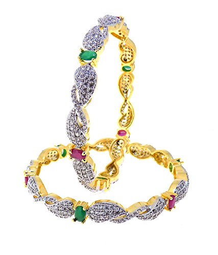Aabhushan Jewels Ruby & Emerald Look Gold Plated American Diamond Bangles For Women - B00WUE8UOM