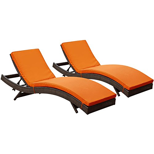 LexMod Peer Outdoor Wicker Chaise Lounge Chair