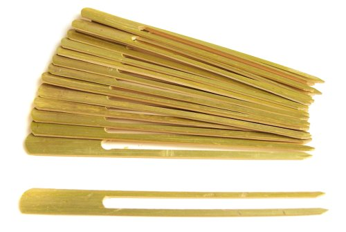 Steven Raichlen Best of Barbecue Double Prong Bamboo Grilling Kabob Skewers 9-inch Long, Set of 16