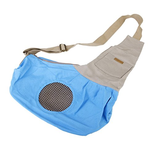 Tinksky Tiny Canvas Pet Dog Cat Carrier Sling Shoulder Bag Carrier Bag (Blue)