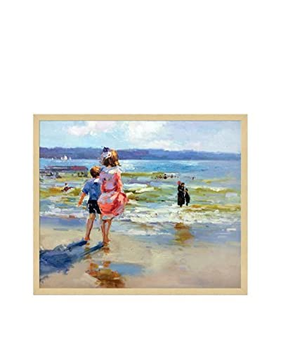Edward Henry Potthast's At The Seashore Framed Hand Painted Oil On Canvas, Multi, 21.5 x 25.5