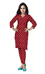 Banjara Women'S Cotton Bandhani Unstitched Dress Material (Rf30_Cherry Red_Free Size)