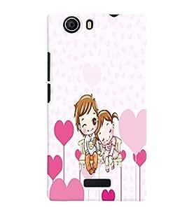 PrintVisa Romantic Love cute Couple 3D Hard Polycarbonate Designer Back Case Cover for Micromax Canvas Nitro 2 E311