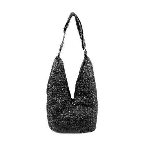 [Functional Demi]Black Satchel Hobo Handbag W/Shoulder Strap front-936664