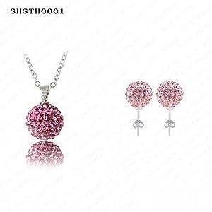 Shiny Moon Shamballa Necklace Earring Set 10Mm Ab Clay Disco Crystal