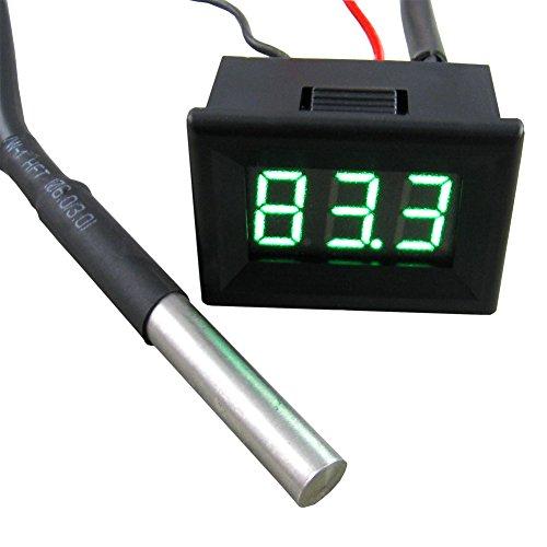 Yeeco 0.36-55-125/°C Blue LED Digital Thermometer Temperature Gauge Panel Black Shell Temp Measure with 18B20 Waterproof Temp Sensor for Pond//car// Refrigerator// Aquarium