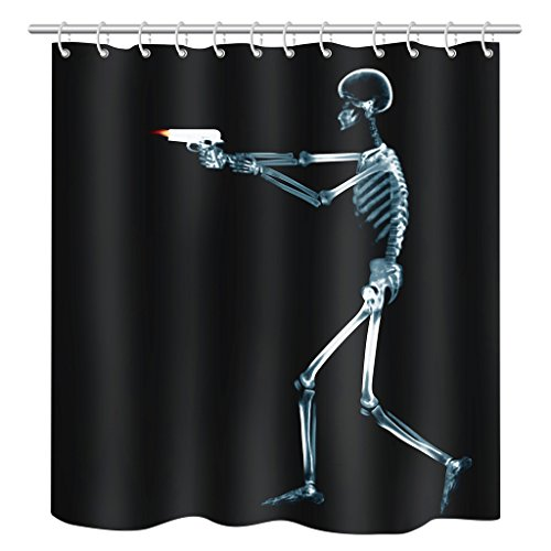 Home Fashion Eco-Friendly Skull Gun Shower Curtain, Width X Height / 72 X 80 Inches / W * H 180 By 200 Cm, Polyerster, Best For Husband (Gun Shower Curtain compare prices)