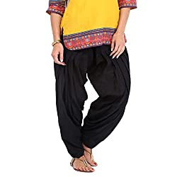DNK Women's Cotton Patiala Salwar (DNK_0002_Black_Free size)