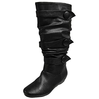 Brinley Co Button Trim Slouchy Boots