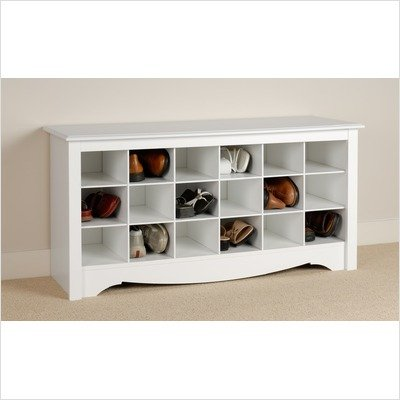 White Monterey Shoe Storage Cubbie Bench in Bright White