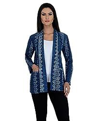 Aarohee Women's Printed Light Cotton Jacket (AAC33_indigo blue_Small)