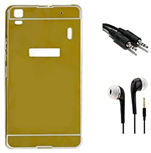 Tidel Luxury Metal Bumper Acrylic Mirror Back Cover Case For Lenovo K3 Note - Golden With 3.5mm Handsfree Earphone & Aux Cable