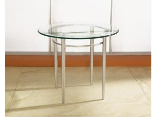 Cheap High Point End Table with Round Glass Top (5923 MET)