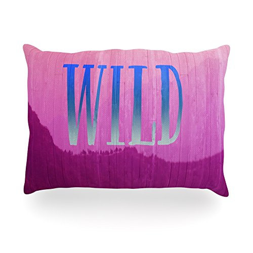 "Kess Inhouse Catherine Mcdonald ""Wild"" Pink Purpleoblong Rectangle Throw Pillow, 14 By 20-Inch front-997608"