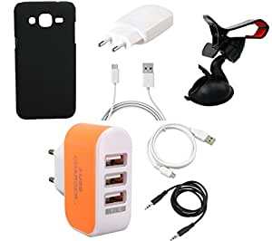 NIROSHA Cover Case Charger USB Cable Mobile Holder for Samsung Galaxy J3 - Combo