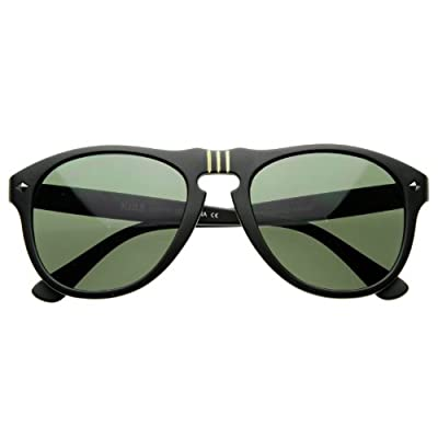 Vintage Designer Round P-3 Frame Key-Hole Horn Rimmed Sunglasses Matte Color (Black)