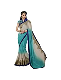 Indian Appreciable Blue Colored Border Worked Chiffon Shimmer Saree By Triveni