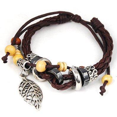 niceEshop(TM) Leaf Pendant Pandora Beads Leather