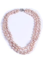 wiipujewelry Freshwater Pink Pearls 3 Layered Wedding Necklace, 24-Inch