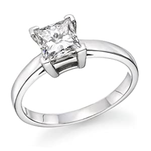 1.20 ct. Princess Cut Diamond Solitaire Engagement Ring in 18k White Gold (D Color, VS2 Clarity enhanced)