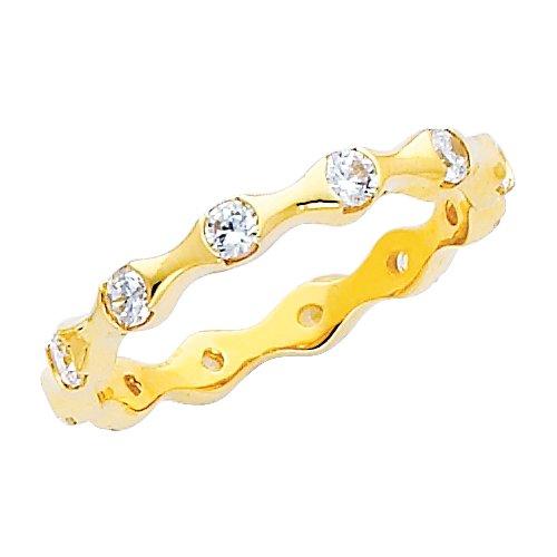 14K Yellow Gold Round-shape CZ Cubic Zirconia Eternity Ring Band - size 9