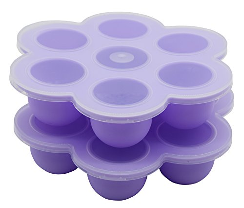 2 Pack - Baby Food Container, 7 Cups Silicone Baby Food Freezer Tray by Suntake (Purple) (Blender Baby compare prices)