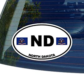 ND NORTH DAKOTA State Auto Oval Flag - Window Bumper Laptop Sticker