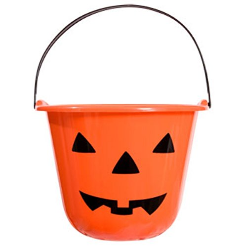 Halloween Orange Jack-o-lantern Treat Pails Ready for Trick-or-treaters