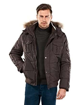 VB Veste d''extérieur à col montant, capuche amovible , application de vraie fourrure, XL, marron