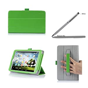 ProCase 2013 version ASUS MeMO Pad 8 ME180A Protective Case with bonus stylus pen - Tri-Fold Leather Cover Case exclusive for 2013 ASUS MeMO Pad 8 ME180A Tablet, Built-in Stand (Green)