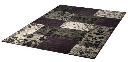 Design Velours Teppich Patchwork Optik lila / grau / beige 101185