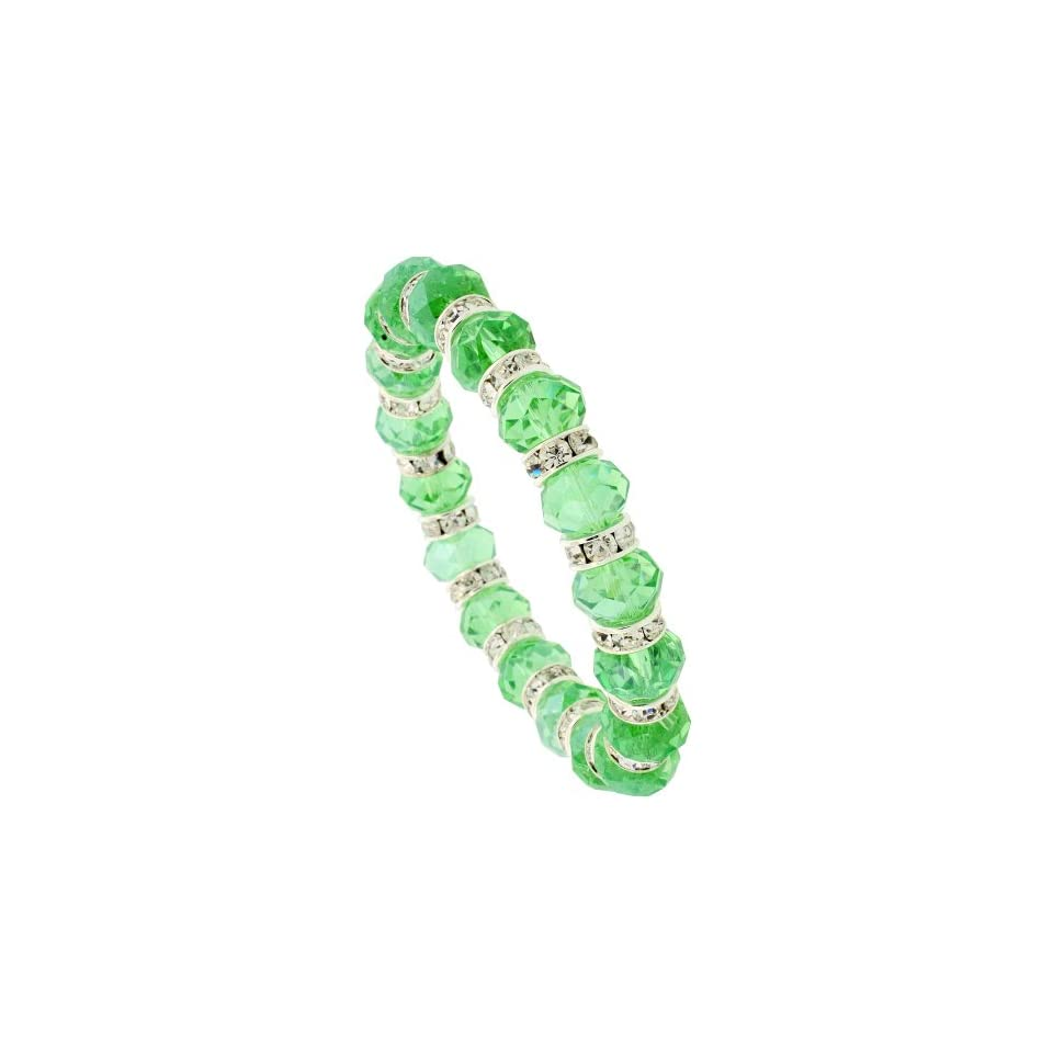 7 in. Emerald Color Faceted Glass Crystal Bracelet on Elastic Nylon Strand, 3/8 in. (10mm) wide