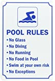 "SmartSign Pool Sign, Legend ""Swimming Pool Rules"", Blue on White"