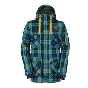 Buy Bonfire Utility Jacket (Plaid Blue) Mens Snowboard Jacket by Bonfire