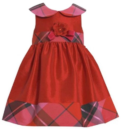 Bonnie Jean Girls Taffera Plaid Christmas Holiday Dress, Red, 3T
