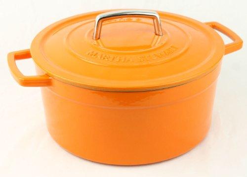 Orange Enameled Cast Iron 6 Qt. Round Dutch Oven Casserole front-566533
