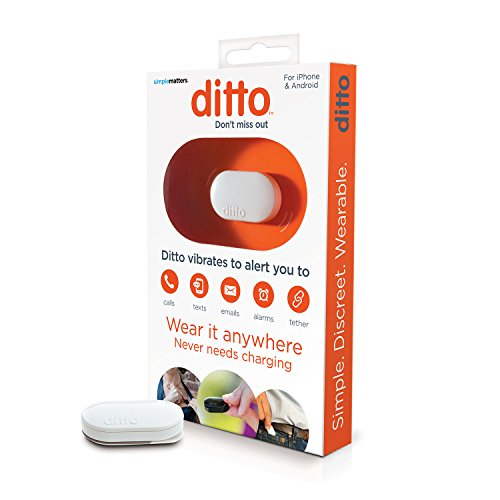 Simple Matters, Ditto Vibrating Notification Device for People with Hearing Loss, Waterproof, iOS & Android Compatible, White