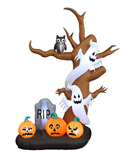9 Foot Tall Halloween Inflatable Tree with Ghosts, Pumpkins, Owl and Tombstone Decoration