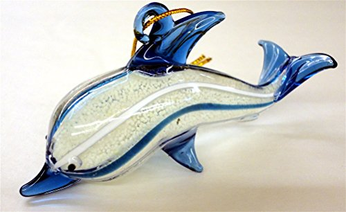 Glass Dolphin Christmas Ornament, Blue and White, Glows in the Dark