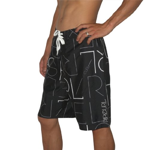 Mens Rip Curl MINIALISM Skate & Surf Boardshorts Board Shorts - Black (Size: 36)