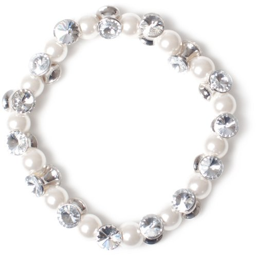 Jodie Rose White Pearl and Cubic Zirconia Bracelet 6.5cm