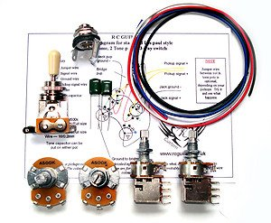 les paul 500k complete guitar wiring kit premium combo push pull full size pots. Black Bedroom Furniture Sets. Home Design Ideas