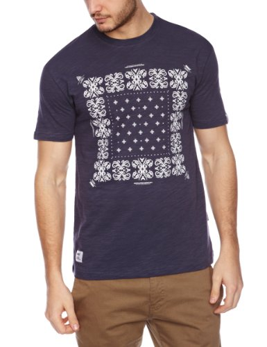 Addict Bandana Printed Men's T-Shirt Navy Slub Large